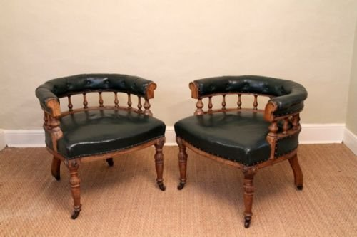 a pair of victorian oak and leather library chairs c 1870 - A Pair Of Victorian Oak And Leather Library Chairs C 1870 164133