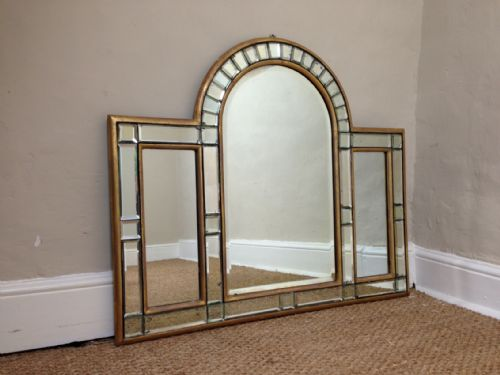 an art deco arched overmantle mirror c 1920
