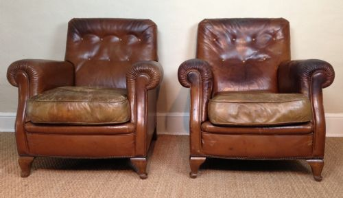A Pair Of Edwardian Leather Library Chairs C 1910