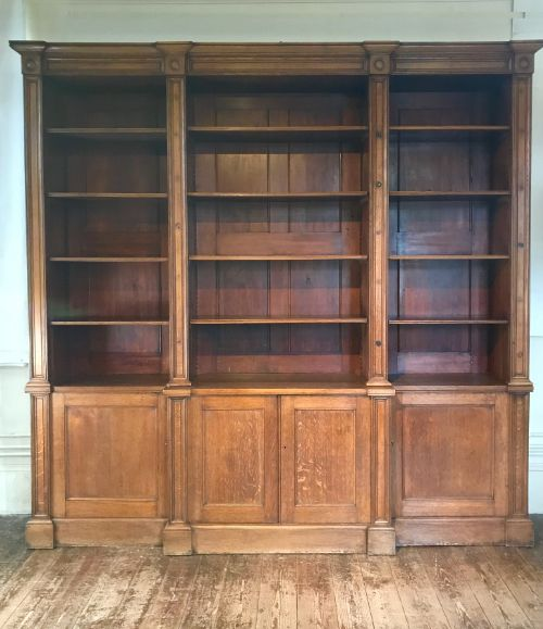 a mid 19th c oak architectural library bookcase circa 1848 belonging to the provost of eton college