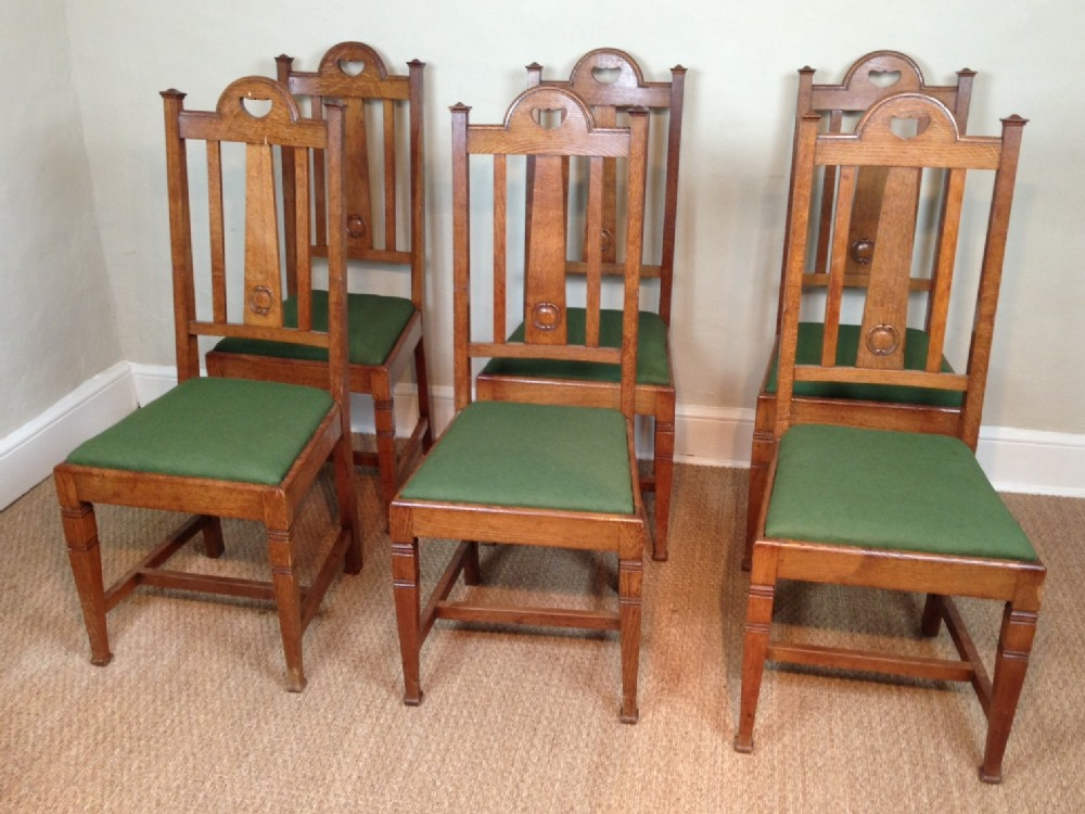 A Set Of 6 Oak Arts And Crafts Dining Chairs C 1900 236527 Sellingantiques Co Uk