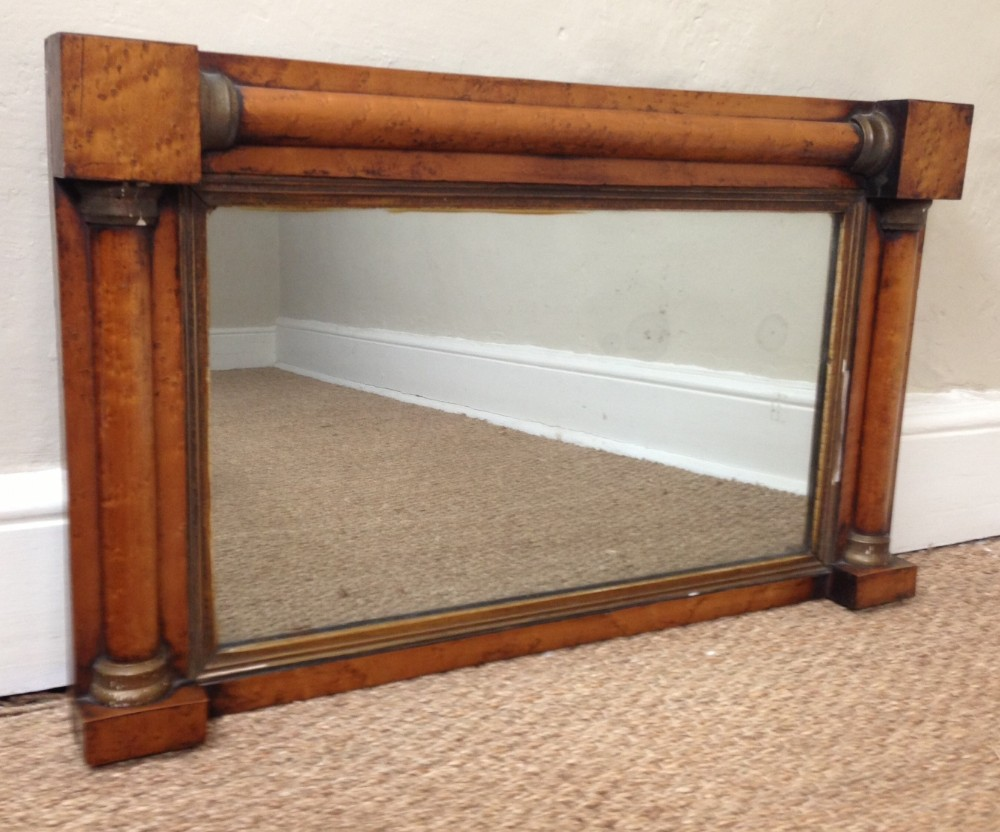 a small early victorian birds eye maple overmantel mirror c 1840