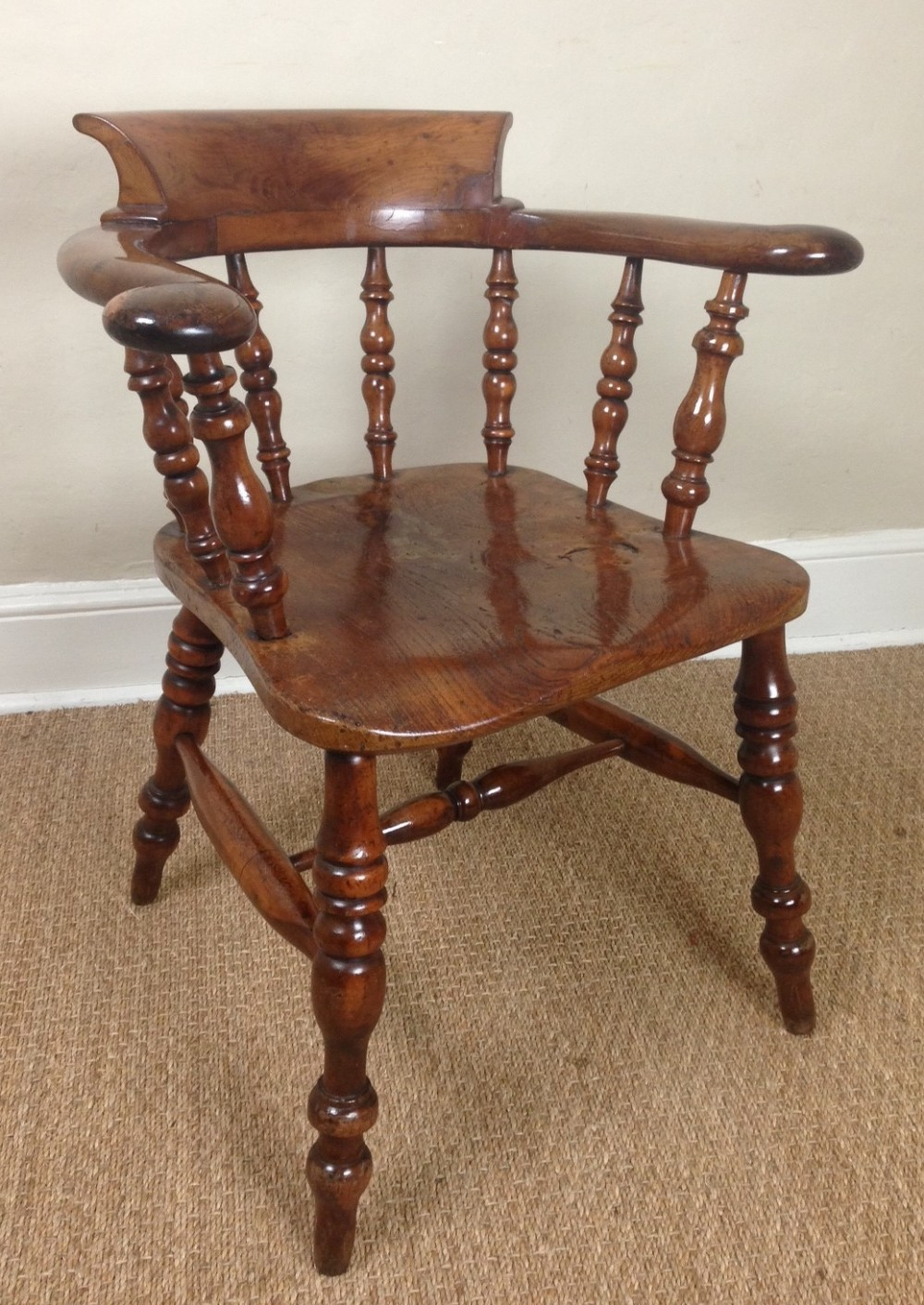 A rare yew wood captains chair c