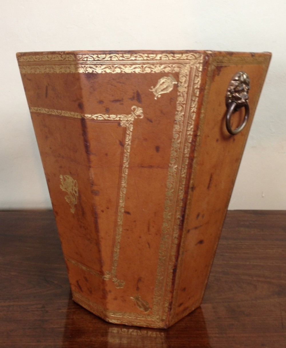A Smart Leather And Gilt Waste Paper Bin C 1930 | 252124