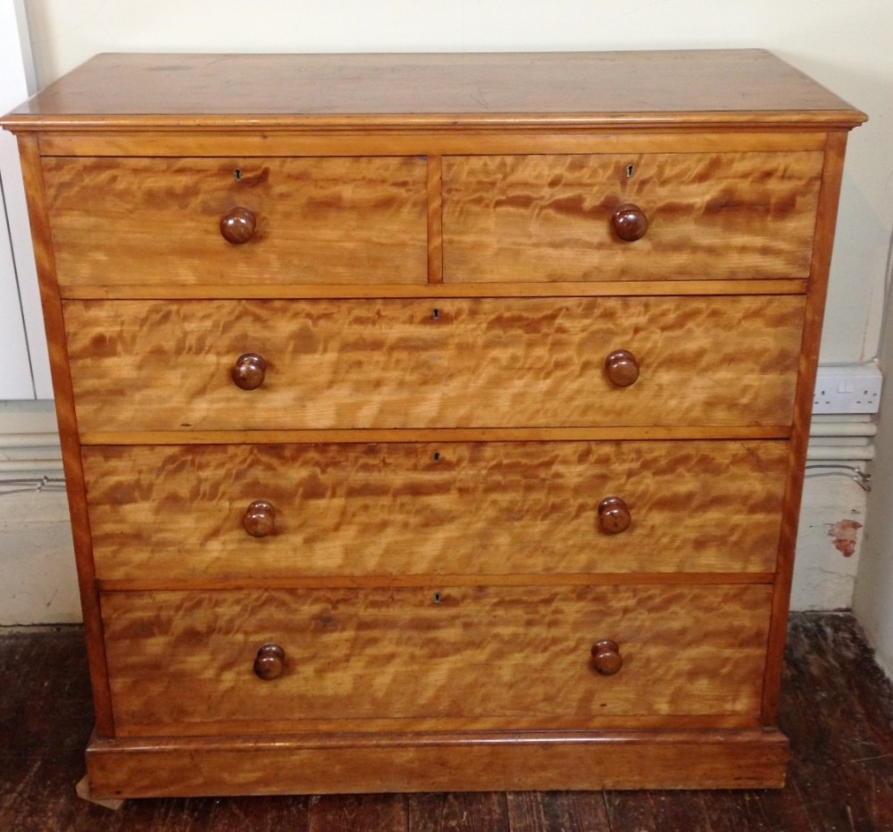 A Victorian Satin Birch Chest Of Drawers By Edwards And Roberts C