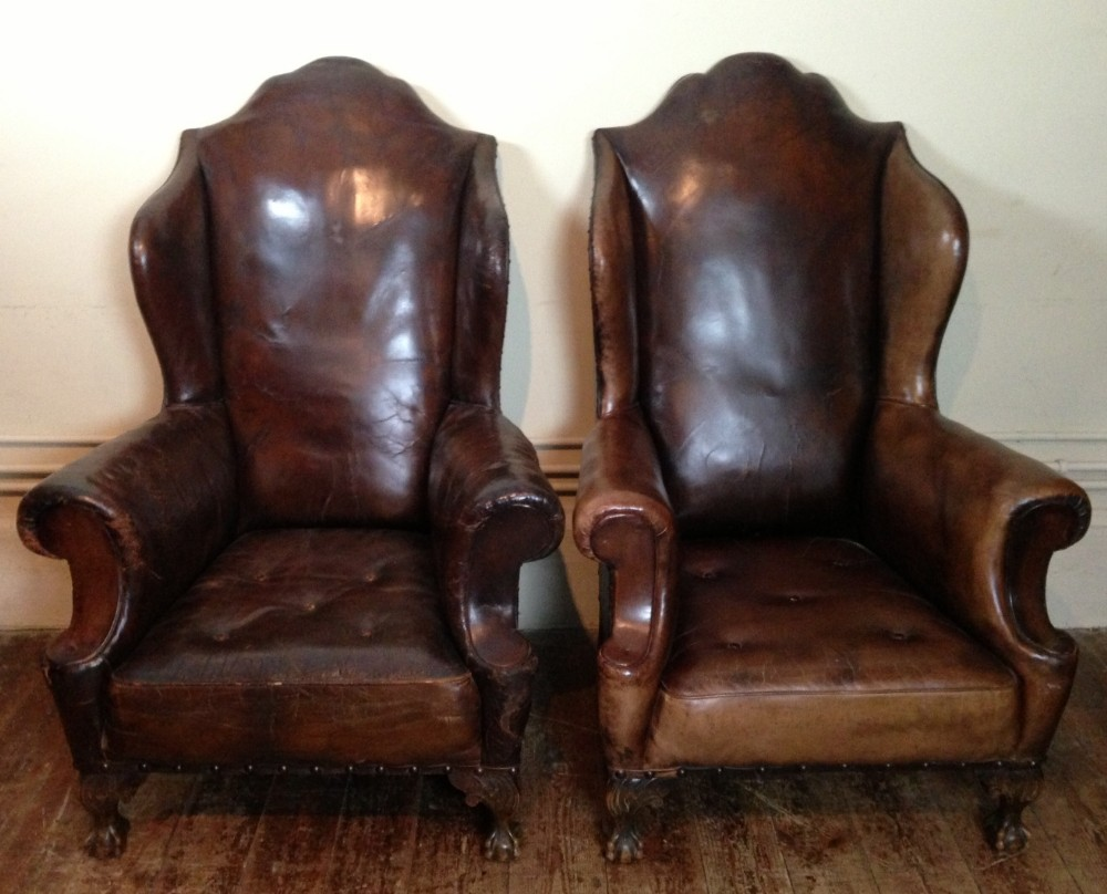 an enormous pair of victorian leather wing chairs c 1900 - An Enormous Pair Of Victorian Leather Wing Chairs C 1900 252160