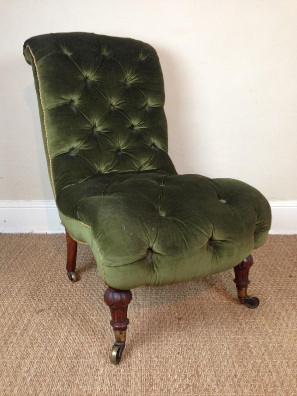 a victorian walnut slipper chair c 1880 - A Victorian Walnut Slipper Chair C 1880 275092 Sellingantiques