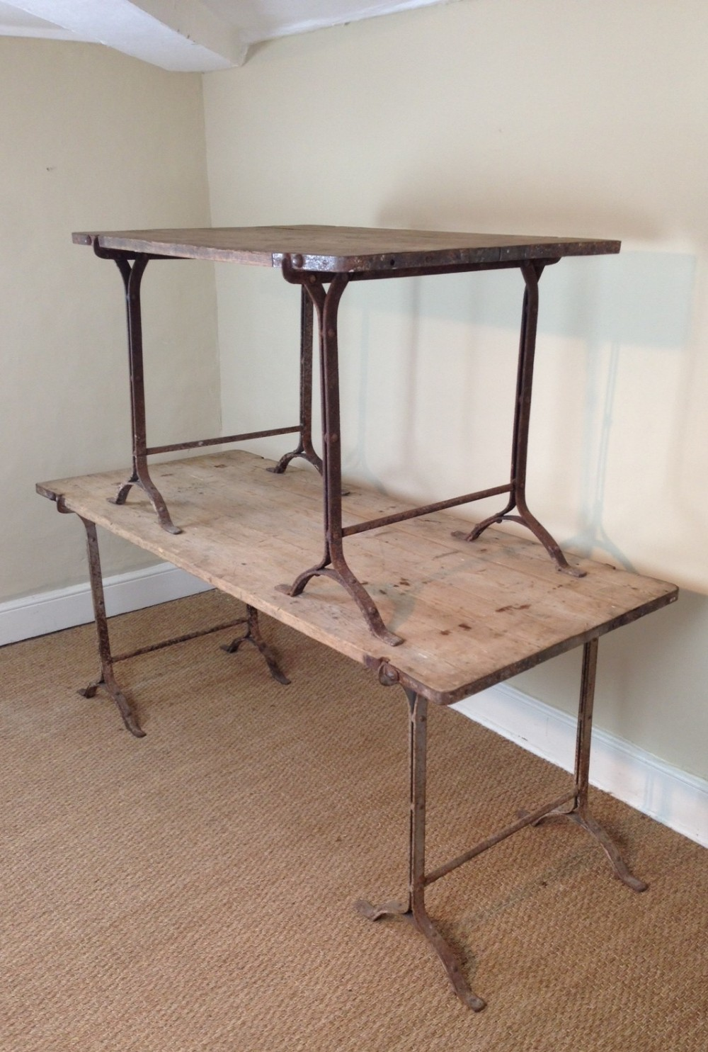 Two Victorian Pine And Iron Trestle Tables