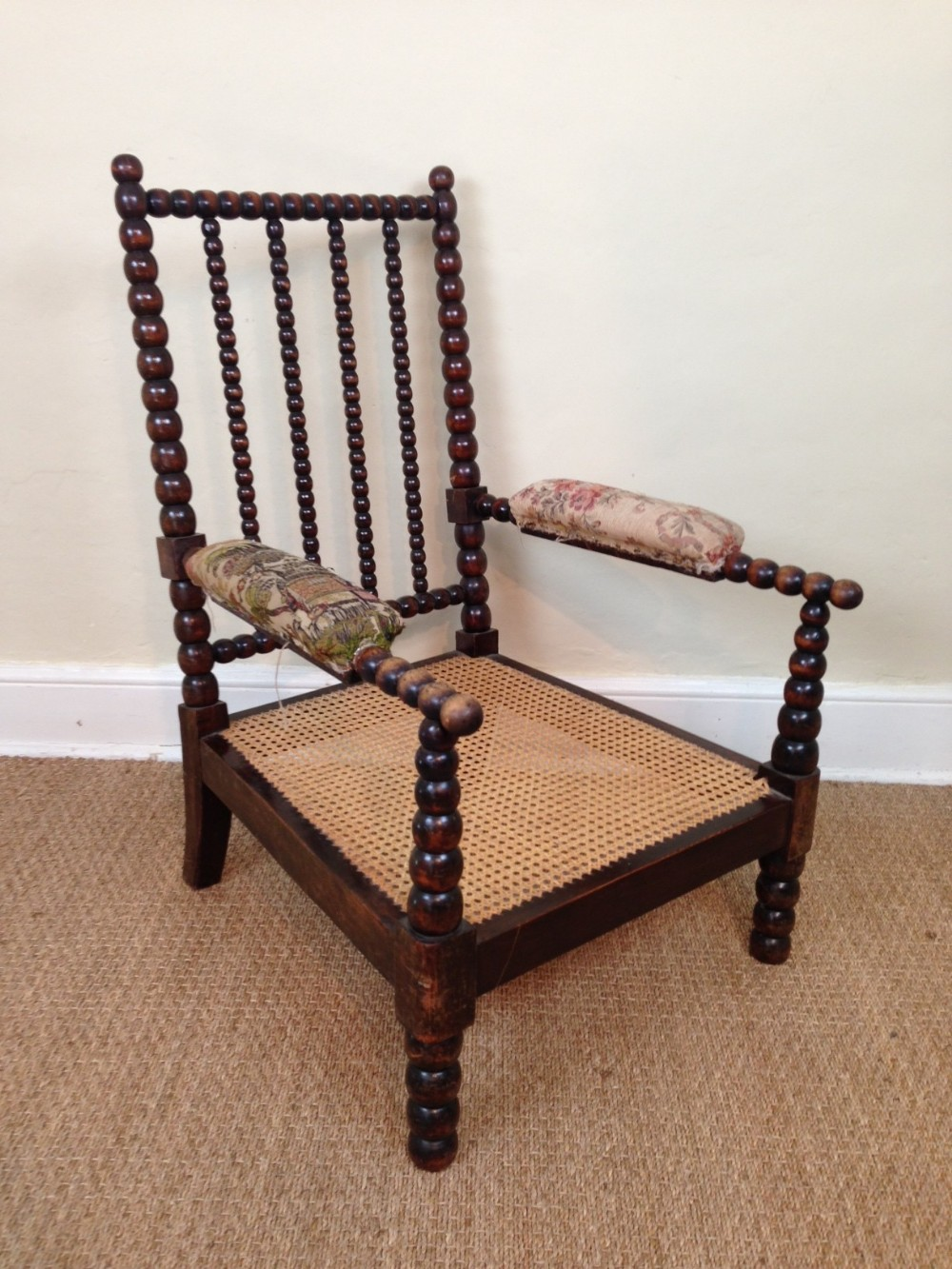 An Early Victorian Bobbin Chair C 1850 With The Original Squab