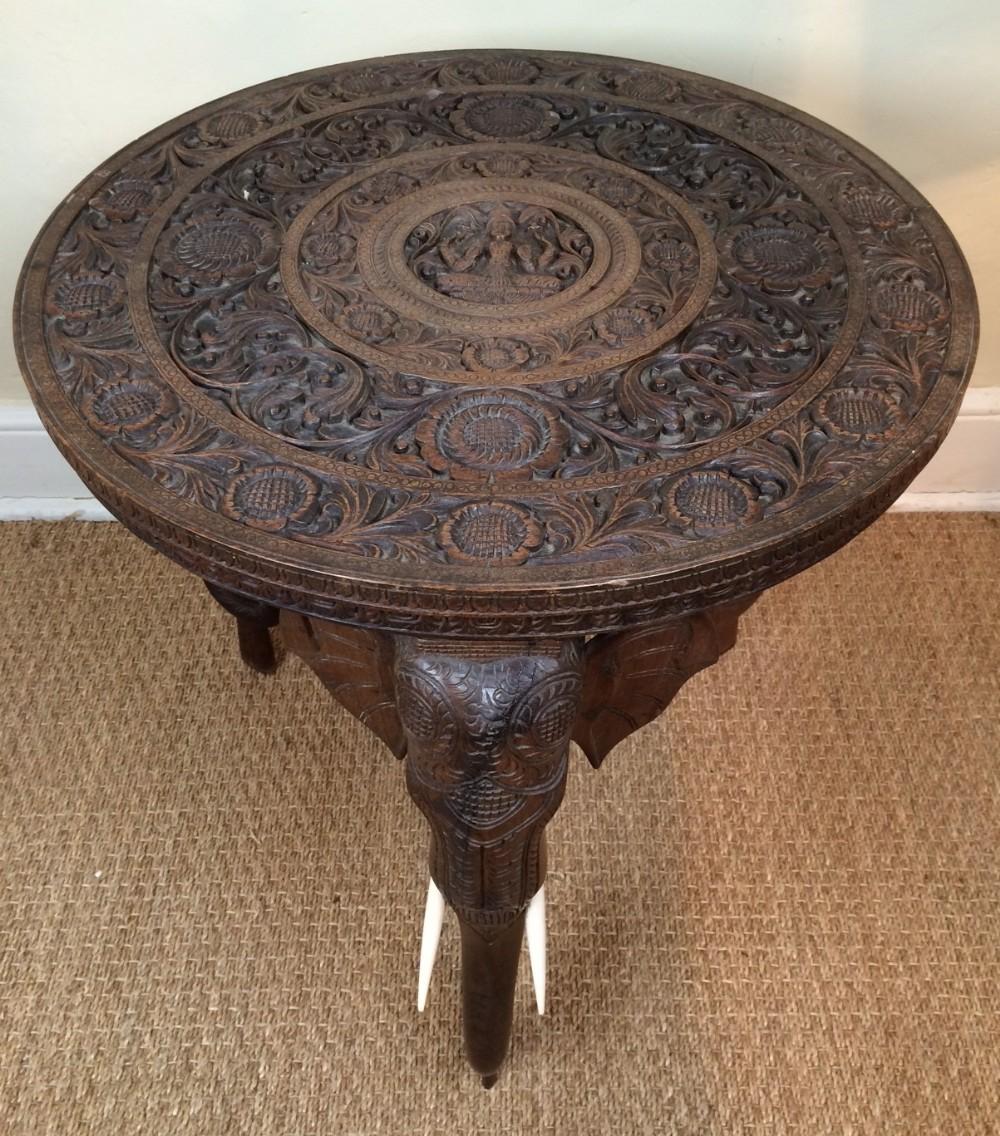 An Indian Carved Teak Circular Elephant Table Bombay C 1910