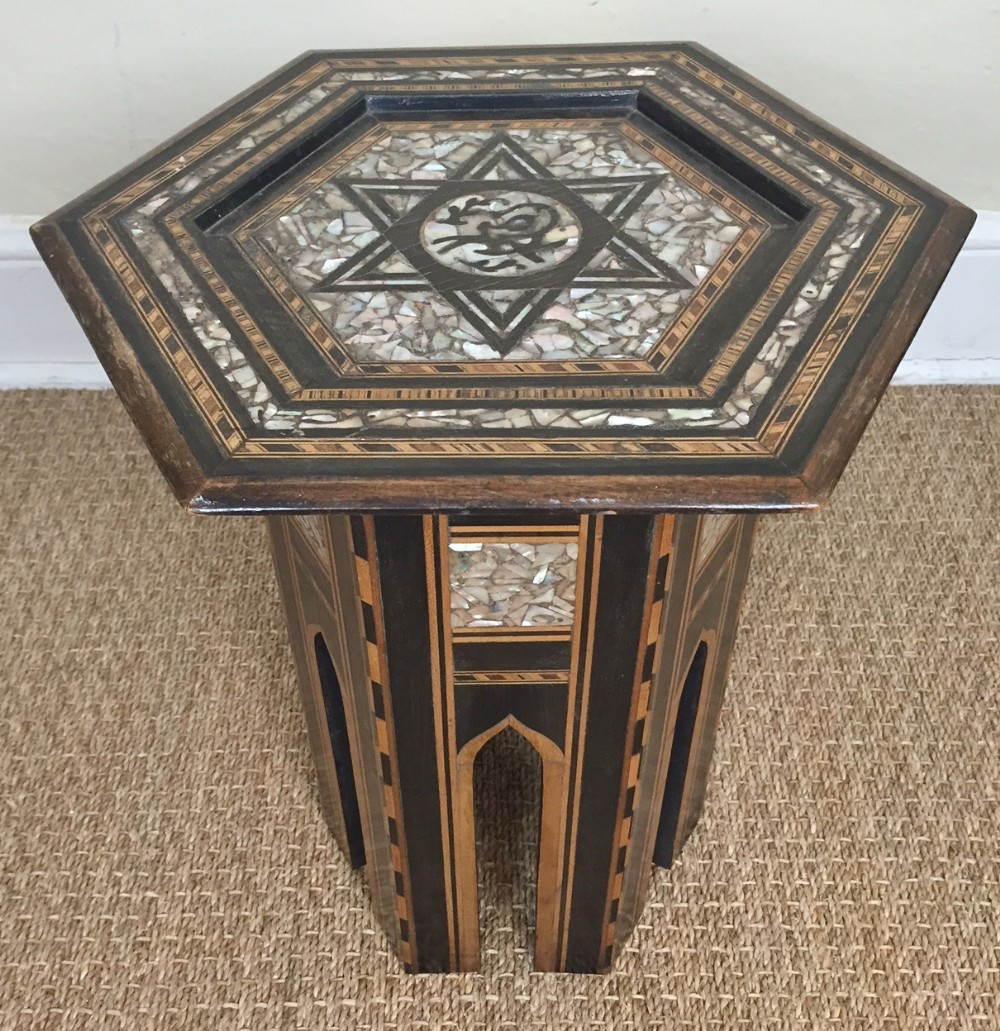 A Syrian Mother Of Pearl Bench Available To Purchase At: A Small Syrian Mother Of Pearl And Ebony Inlaid Hexagonal