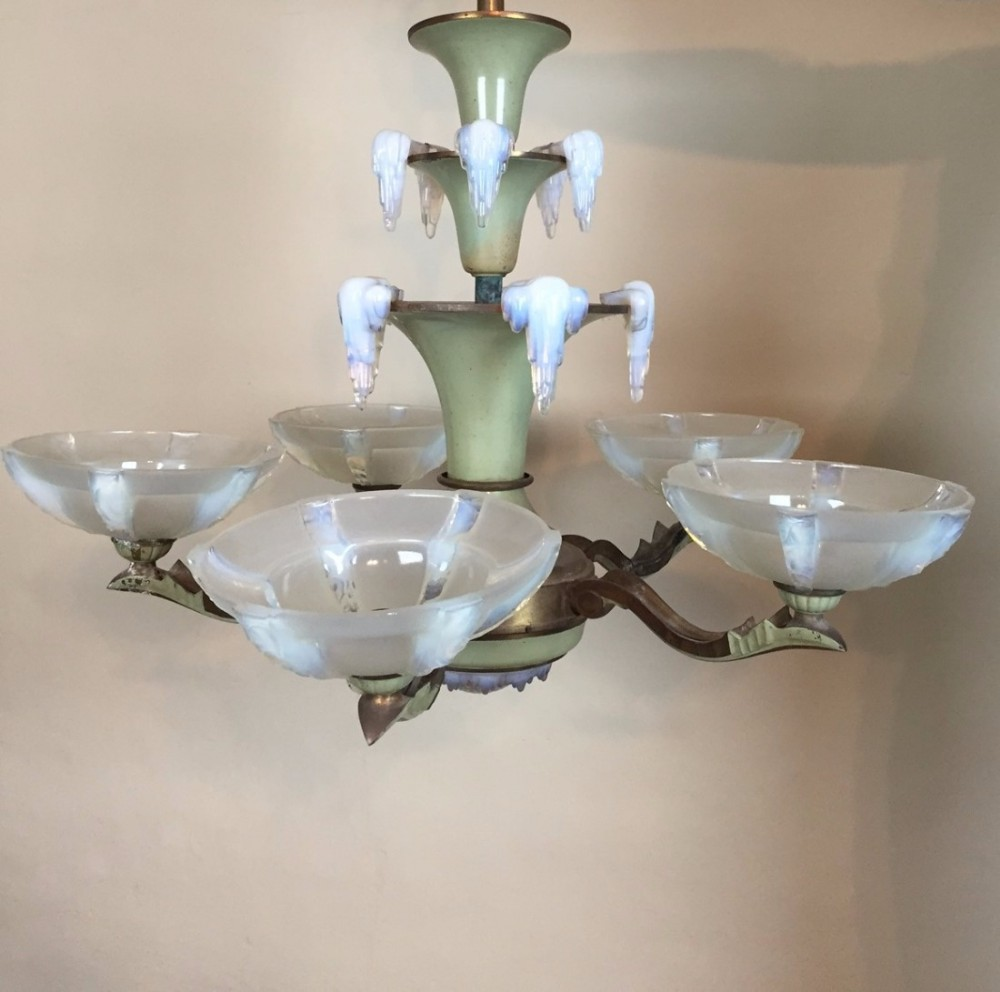 an art deco opalescent glass 5 branch icicle chandelier circa 1930