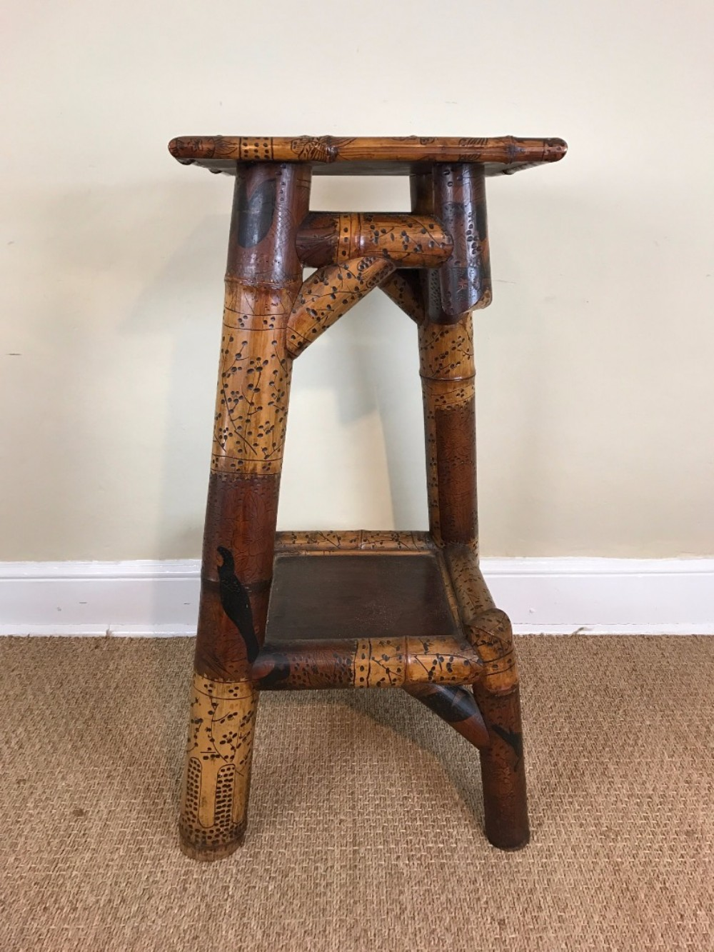 an unusual late 19thcentury french bamboo lacquer two tier stand