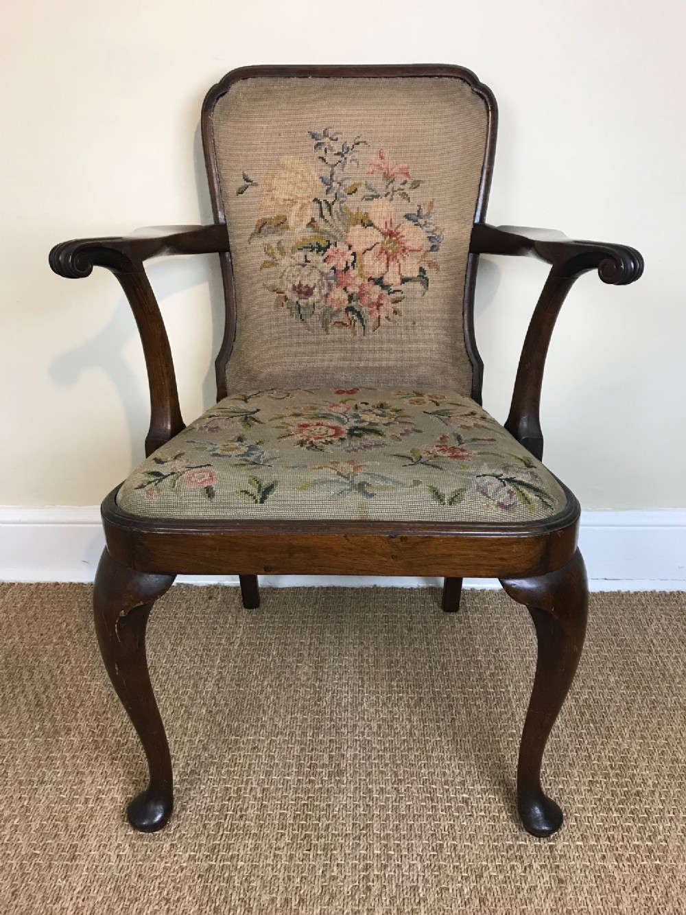 an edwardian mahogany armchair c 1910 in the early 18th century style by gillow