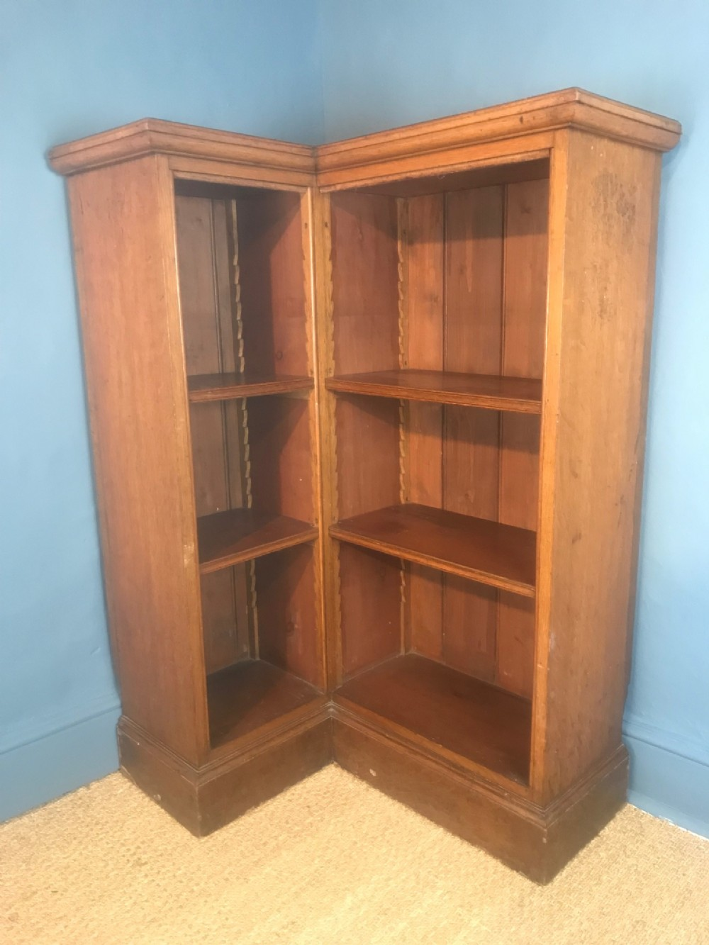An Unusual Victorian Golden Oak Corner Bookcase C 1880