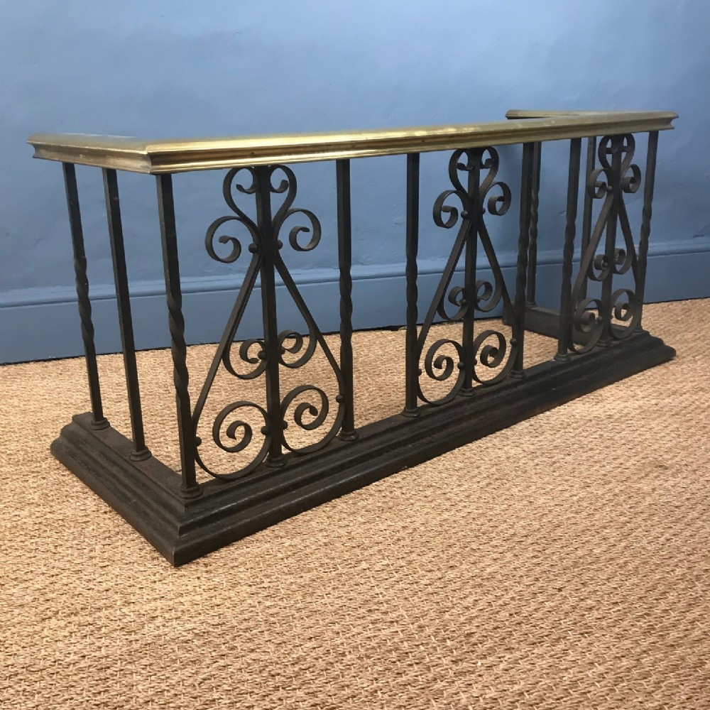 a victorian brass and wrought iron club fender circa 1890