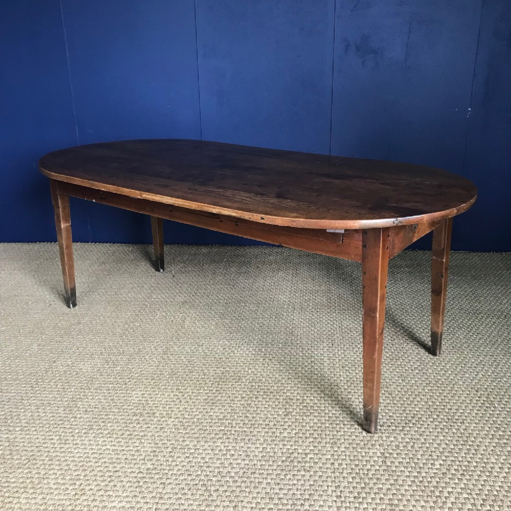a large french oval elm farmhouse table circa 1860 to seat 8 people