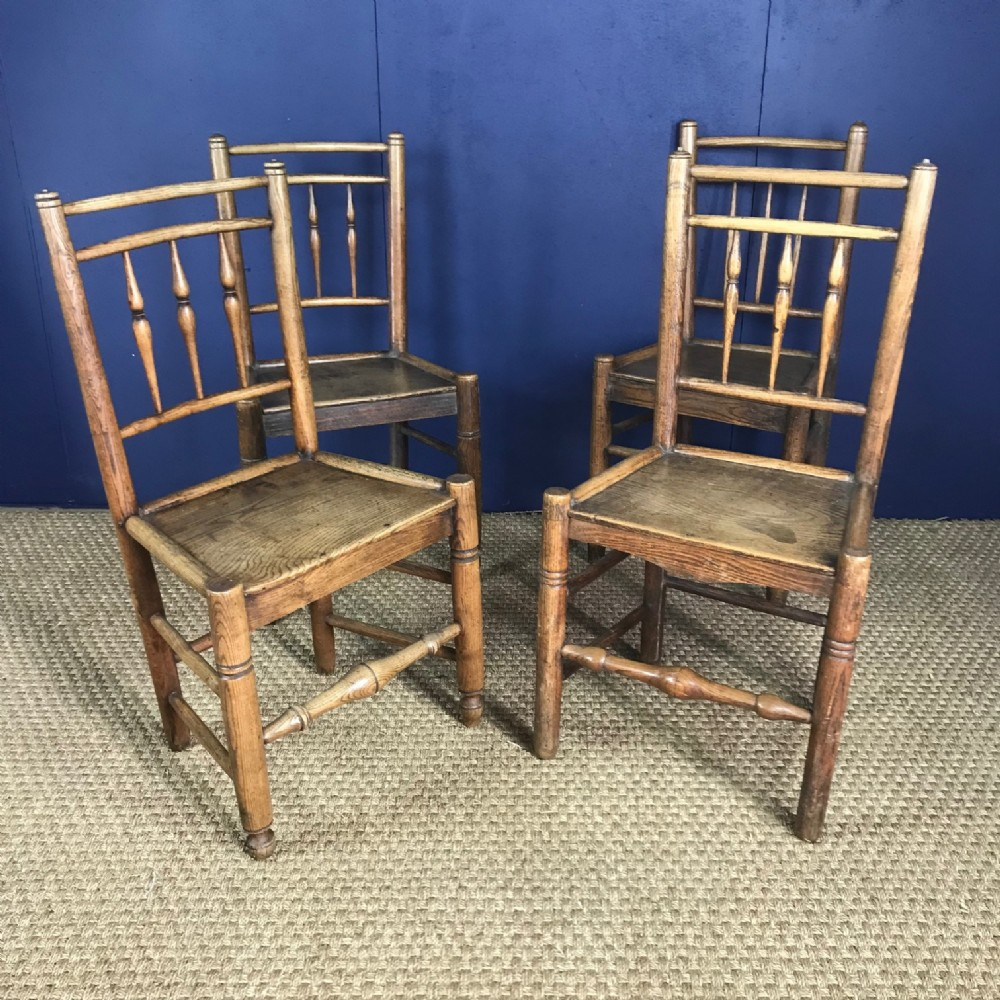 a set of 4 cheshire ash and elm ladder back chairs circa 1830