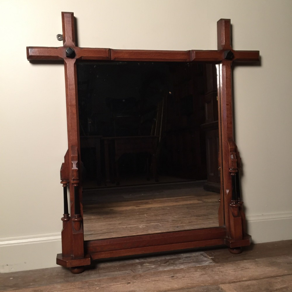 a gothic reform oak overmantel mirror with ebonised detail circa 1880 by j h g elliott newland sherborne
