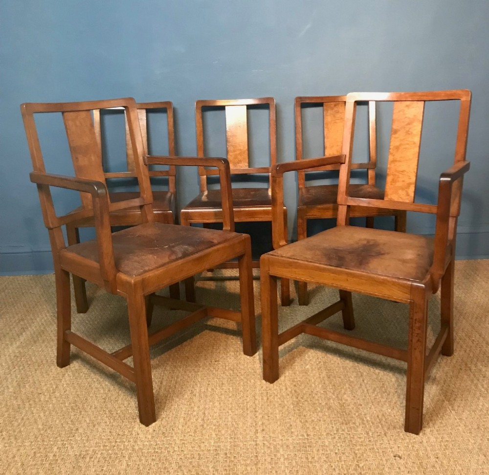Prime A Set Of 5 Heals Walnut And Leather Dining Chairs Circa 1930 Andrewgaddart Wooden Chair Designs For Living Room Andrewgaddartcom