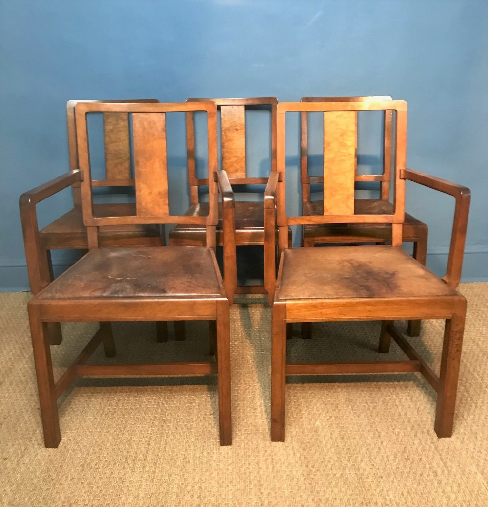 Remarkable A Set Of 5 Heals Walnut And Leather Dining Chairs Circa 1930 Andrewgaddart Wooden Chair Designs For Living Room Andrewgaddartcom