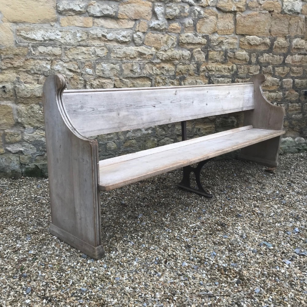 a large victorian bleached pine bench or pew circa 1890