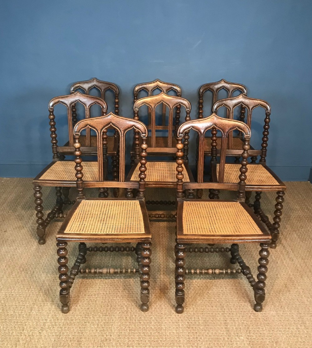 a set of 8 victorian gothic dining chairs circa 1880
