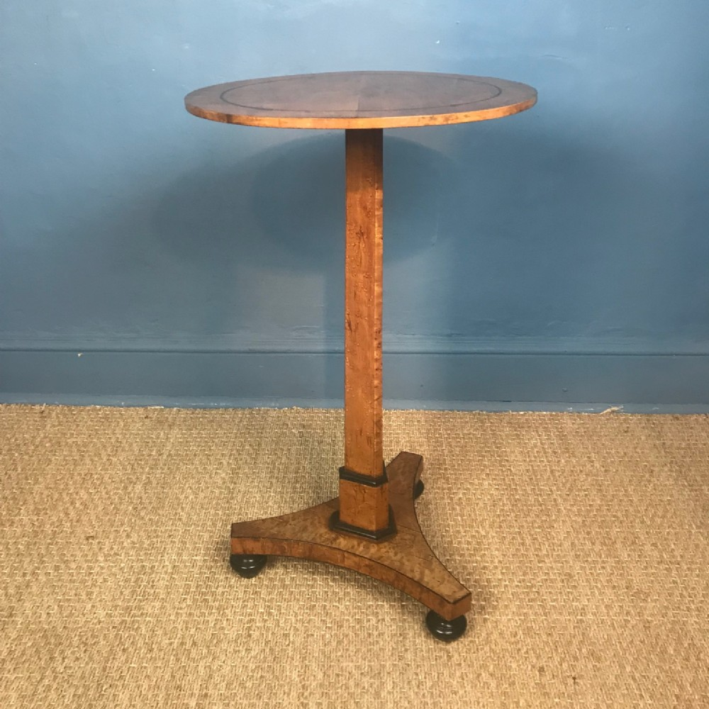 a regency birds eye maple and ebony pedestal table circa 1820