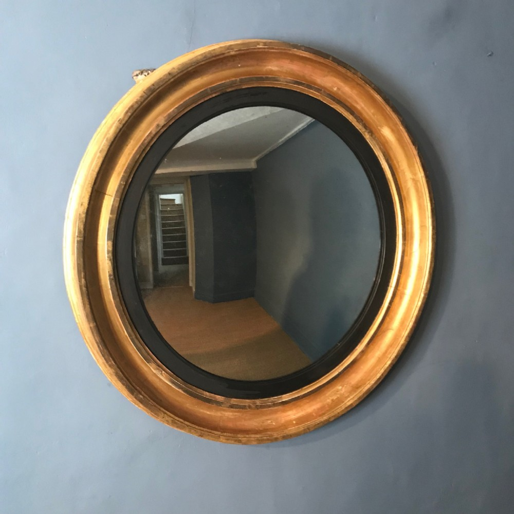 a large regency convex mirror circa 1820 with original water gilding and mercury plate