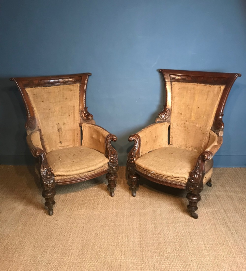a pair of irish oak library chairs cork circa 1850