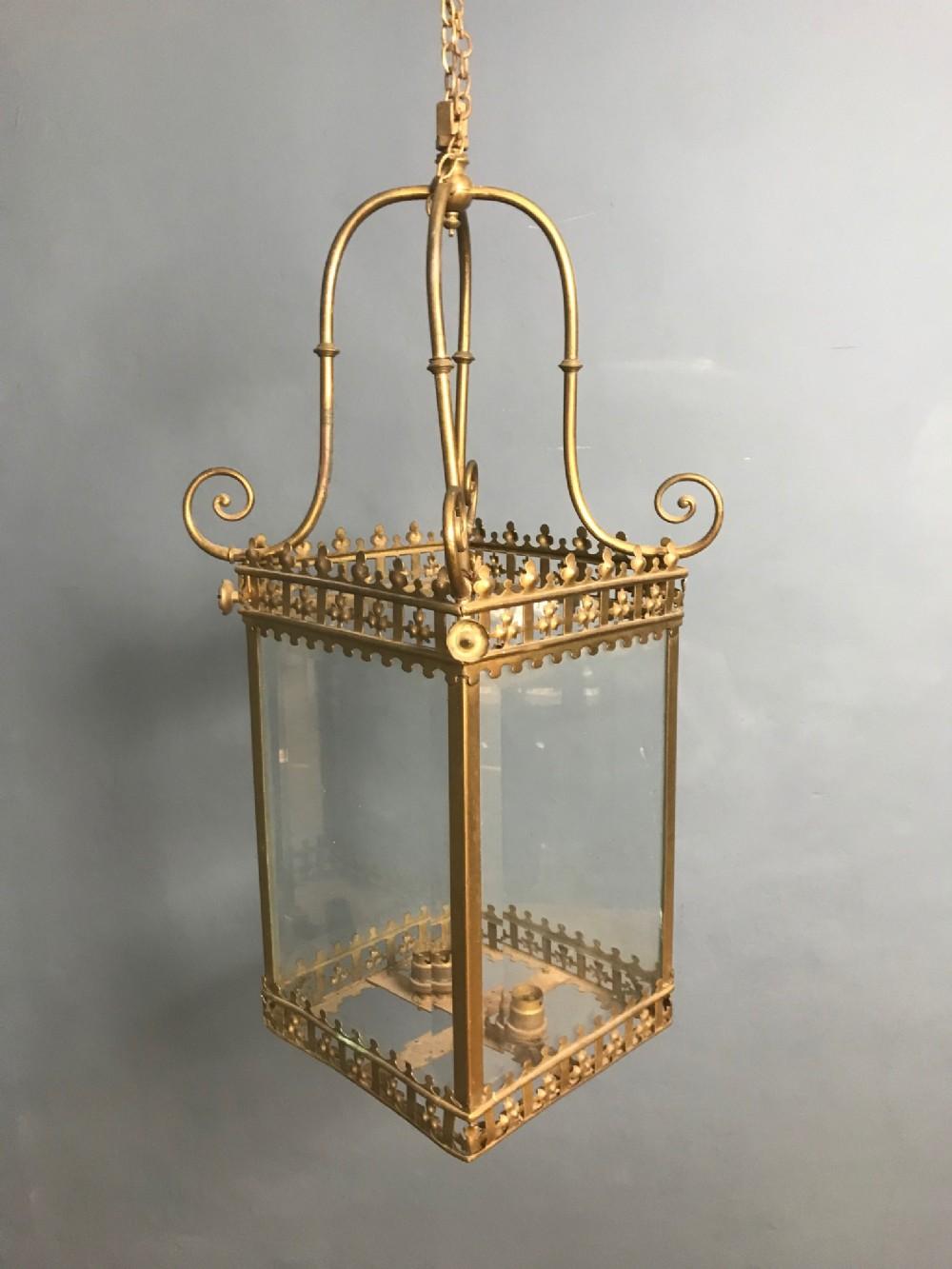 a victorian gilt brass hall lantern circa 1880