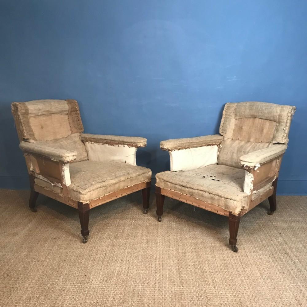 a pair of gillows mahogany library armchairs circa 1880