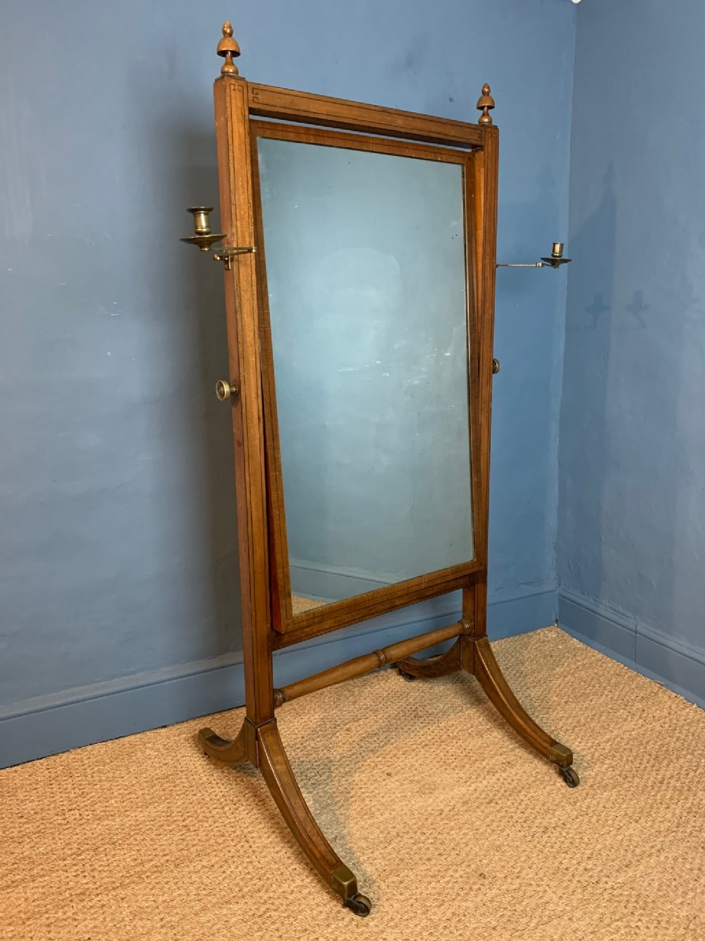 a regency mahogany and ebony inlaid cheval mirror circa 1820
