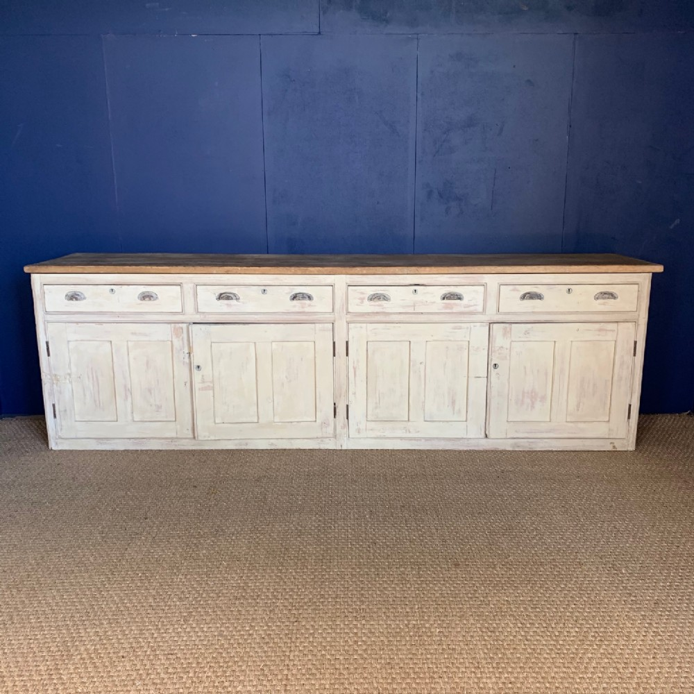 an enormous late victorian west country painted pine dresser circa 1900