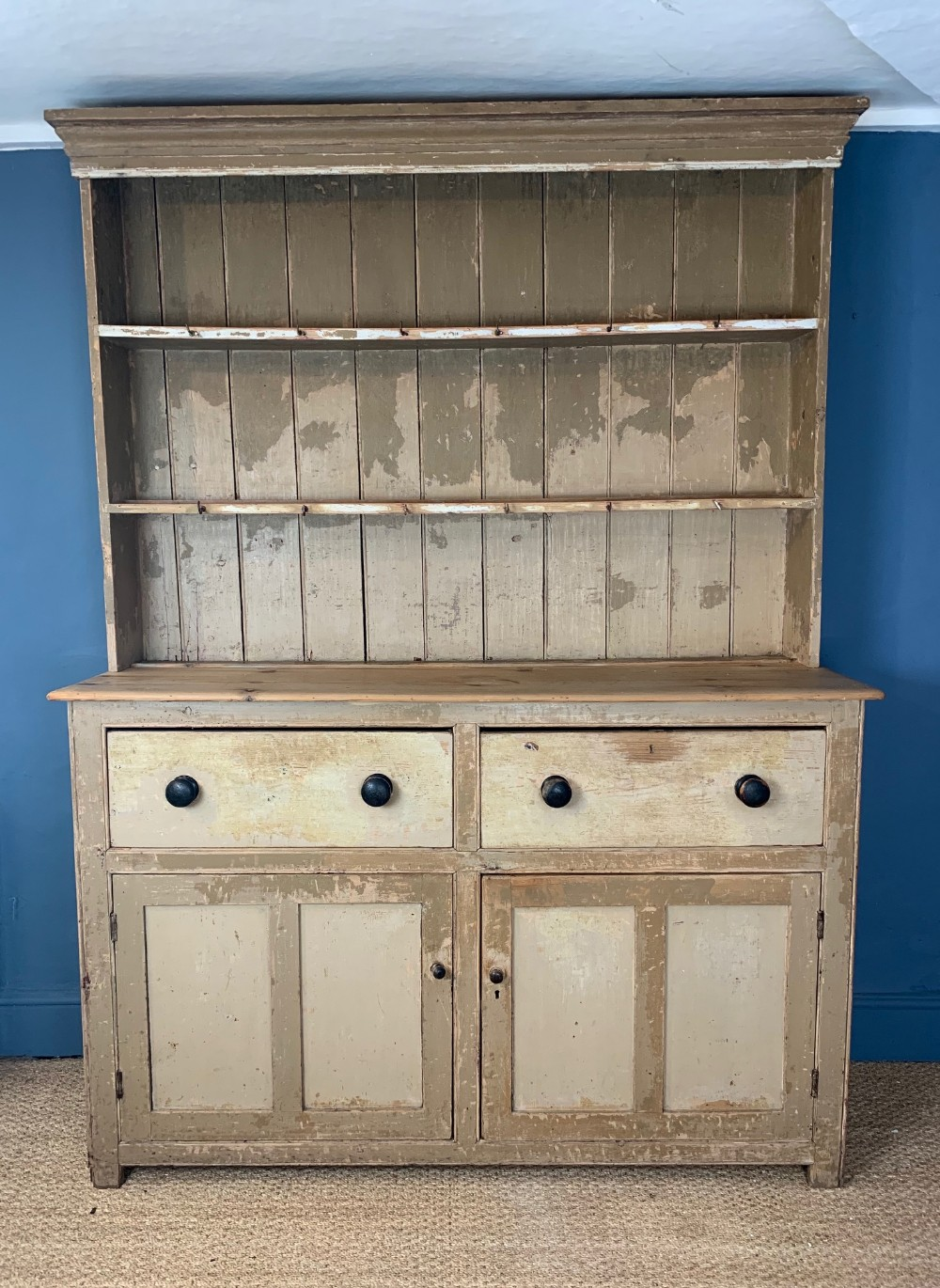 a mid 19th c somerset painted pine dresser c 1870