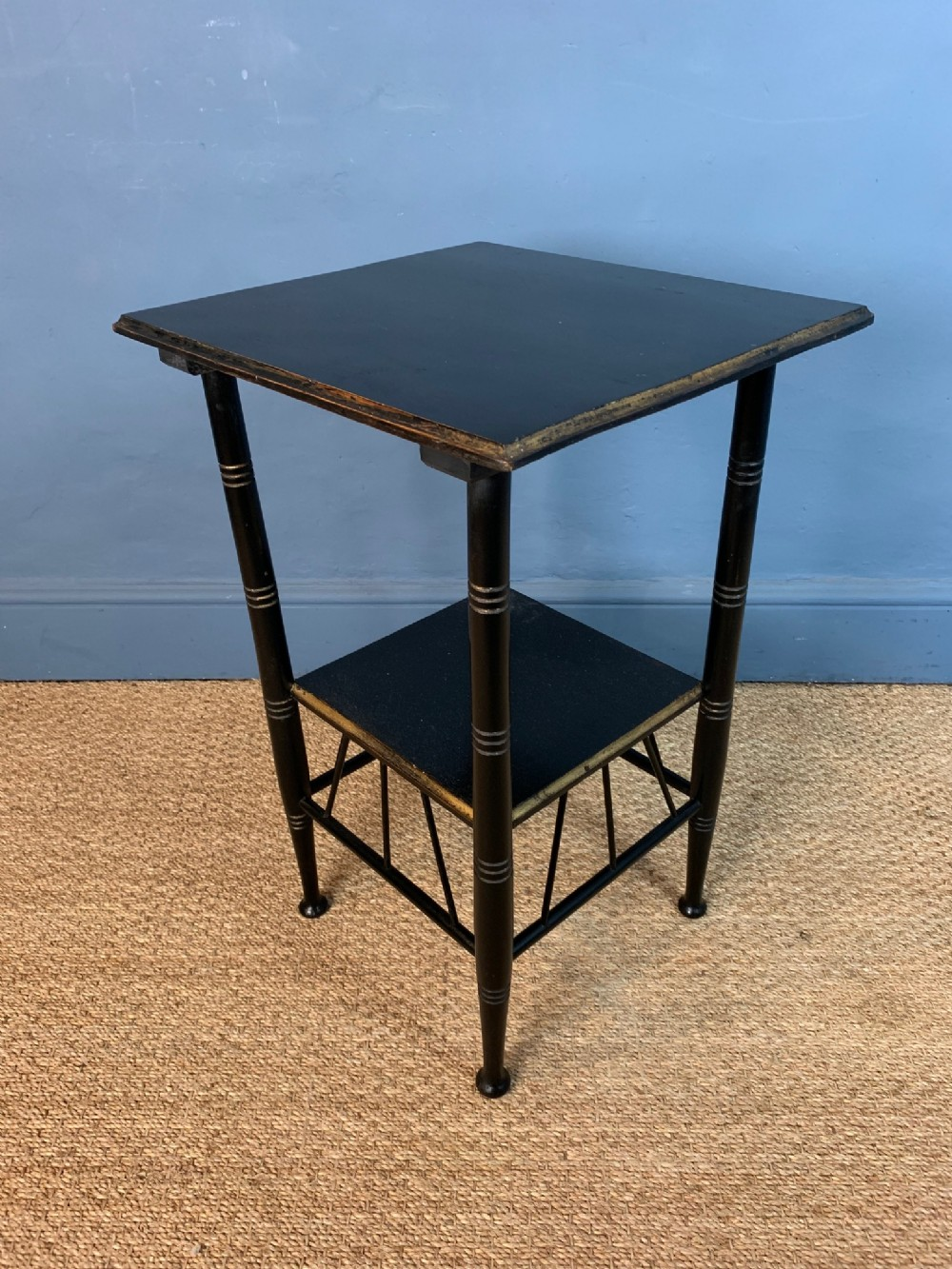 an e w godwin aesthetic movement ebonised and parcel gilt lamp table c 1880
