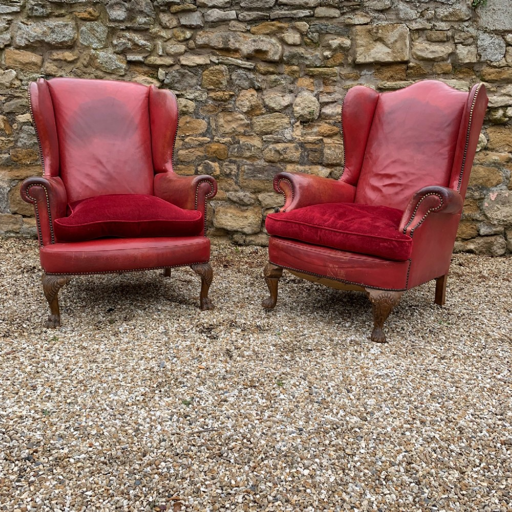 a pair of edwardian leather wing armchairs circa 1910