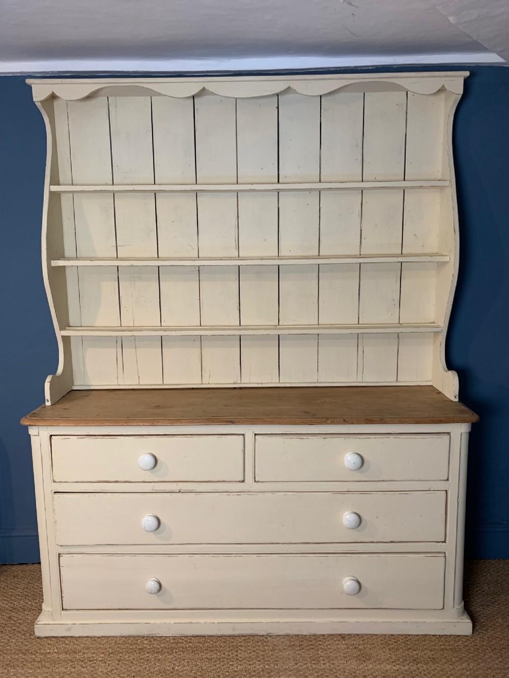a cornish painted pine penzance dresser c 1840