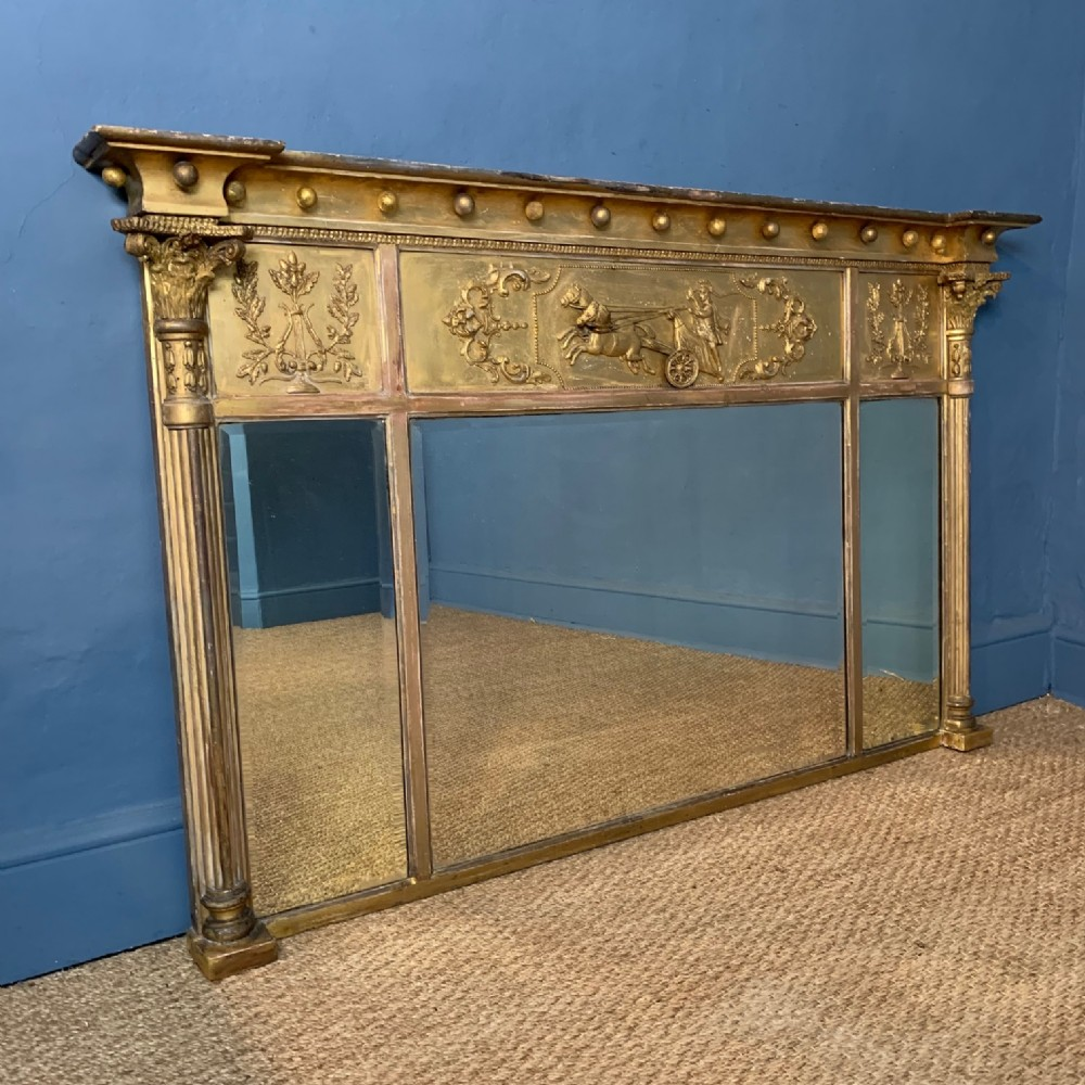 a large victorian gilt overmantel mirror circa 1880 in regency style