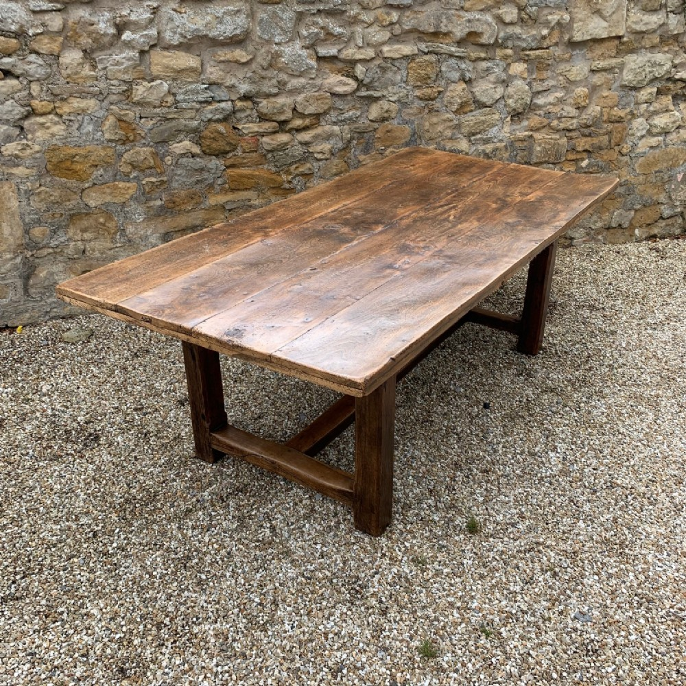 a large west country elm farmhouse table circa 1920 in 18th century style