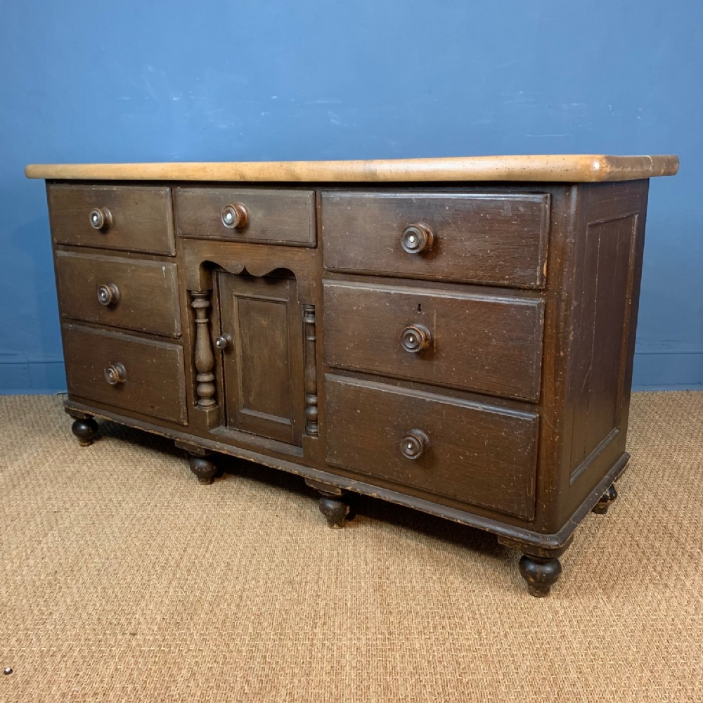 a lancashire painted pine and sycamore dresser circa 1870
