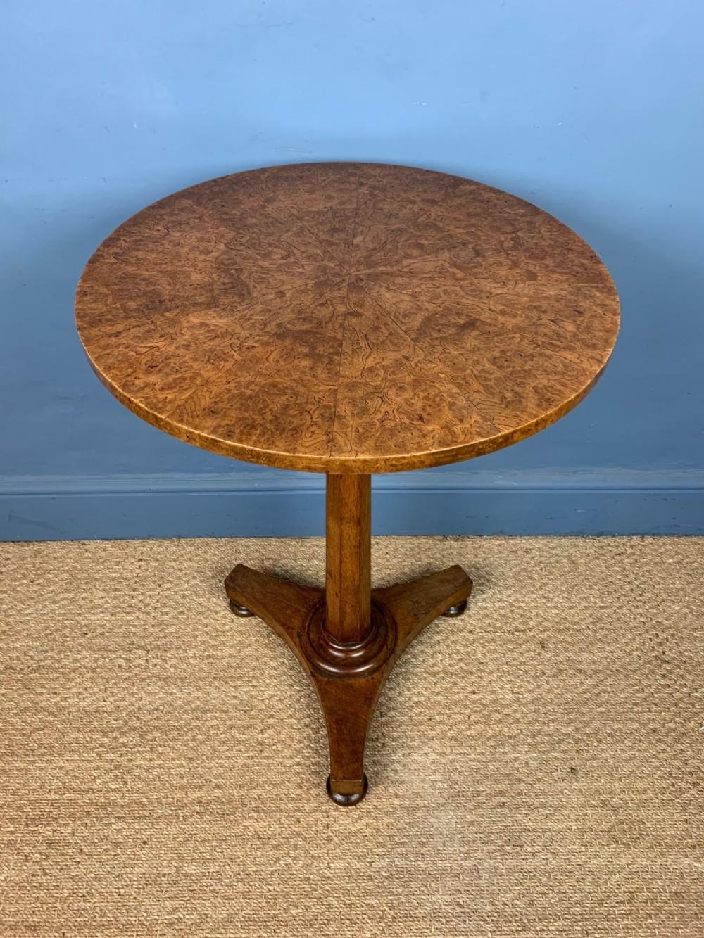 a william iv burr oak lamp table circa 1835