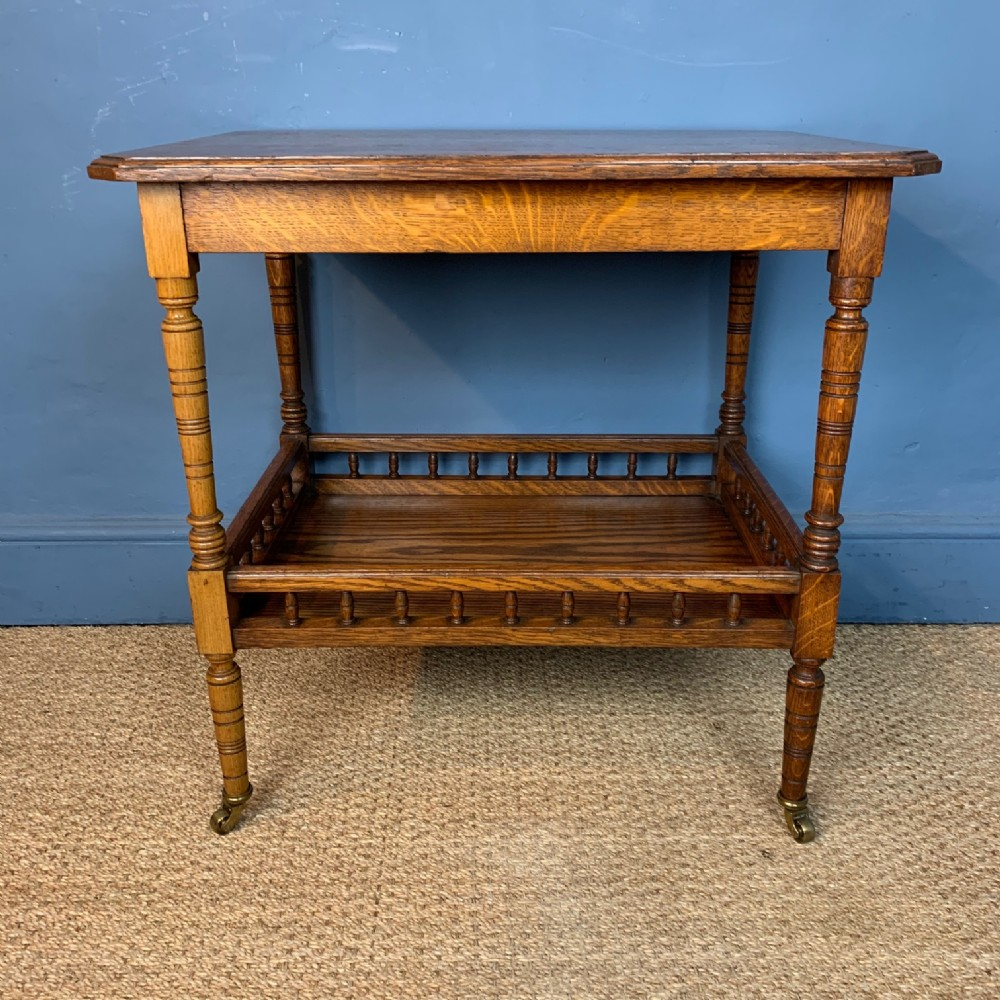 an aesthetic movement oak two tier table circa 1880