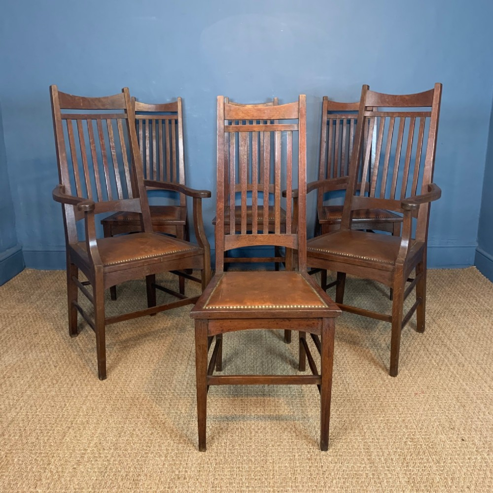 a set of 6 glasgow school oak chairs circa 1905 attributed to j s henry