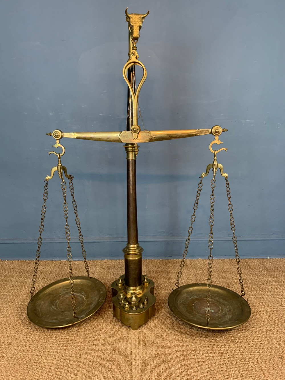 an enormous set of 19th c portuguese brass butchers scales circa 1880