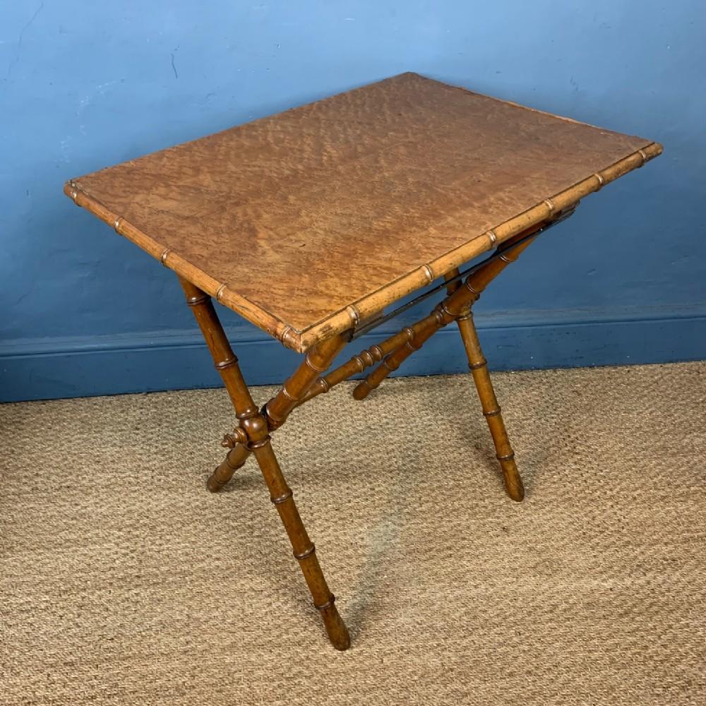 a victorian birds eye maple folding picnic table circa 1880