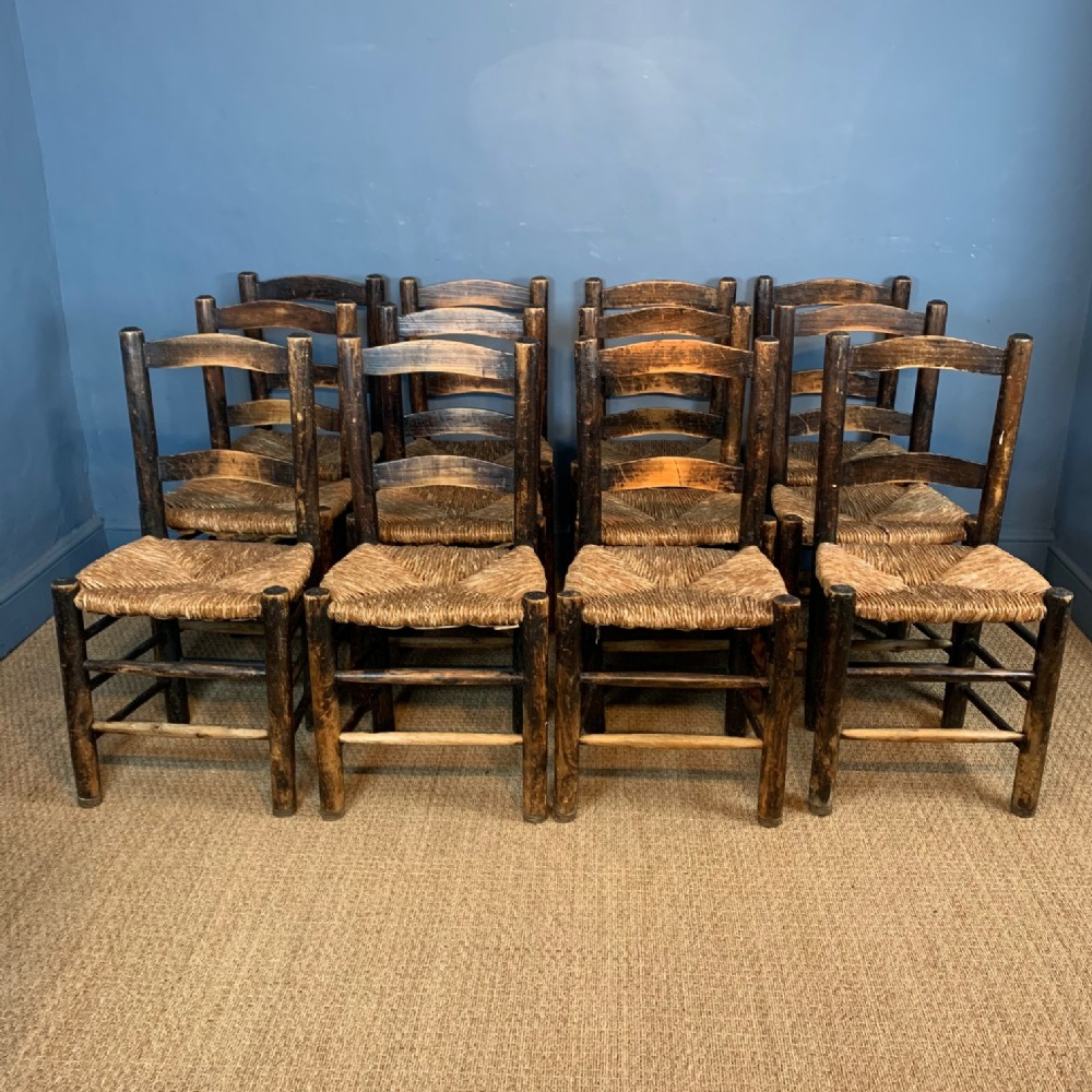 a set of twelve scottish pine kitchen chairs circa 1880