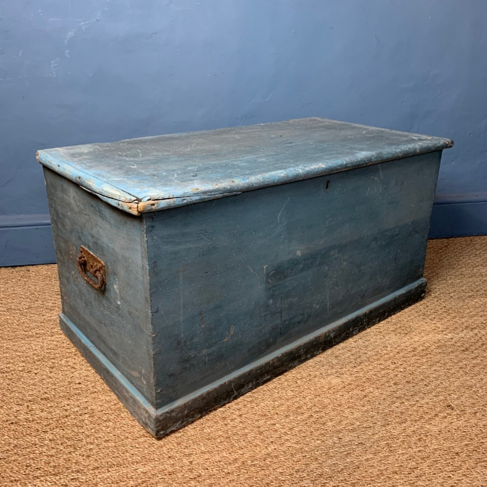 a victorian pine west country painted box c 1880 in the original duck egg blue paint