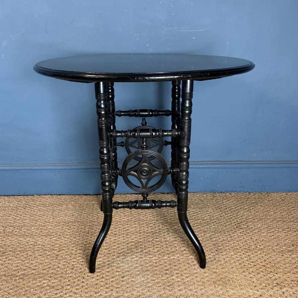 an unusual aesthetic movement ebonised centre table circa 1880