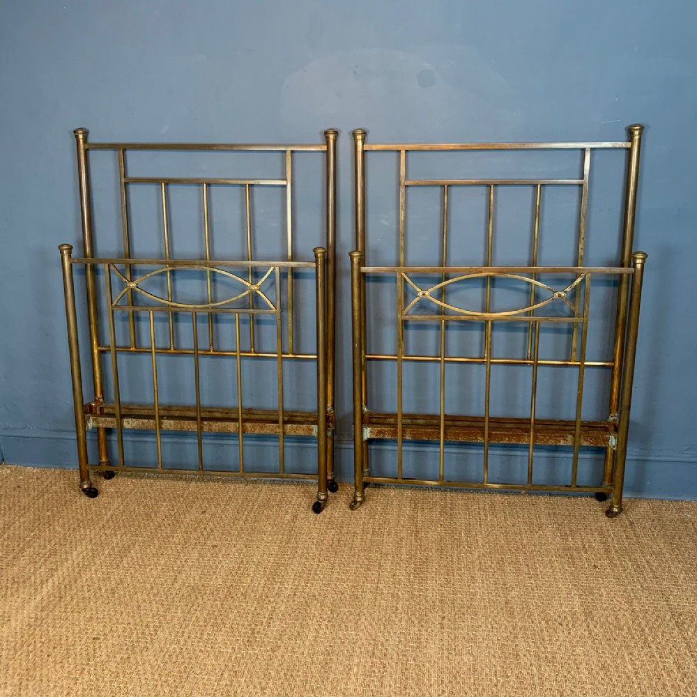 a pair of late victorian brass beds circa 1890